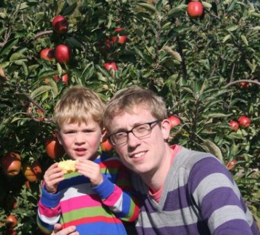 James and his Daddy with their apples at Pippins Farm