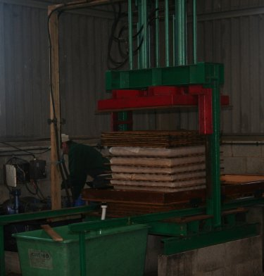 Modern style apple press at Pippins Farm open day.