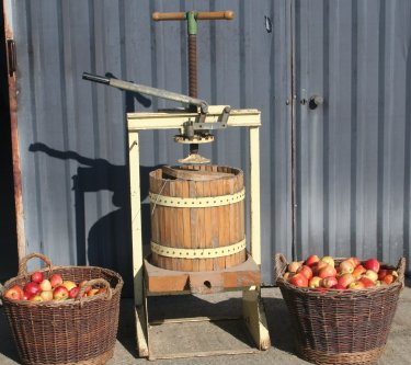 An old style apple press at Pippins Farm open day.