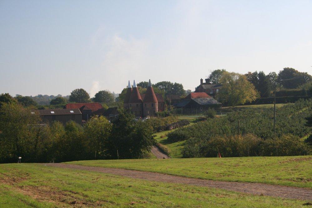 A view  across Pippins Farm to the main farmyard.