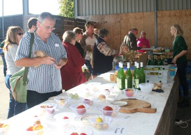 The sales table at Pippins Farm.