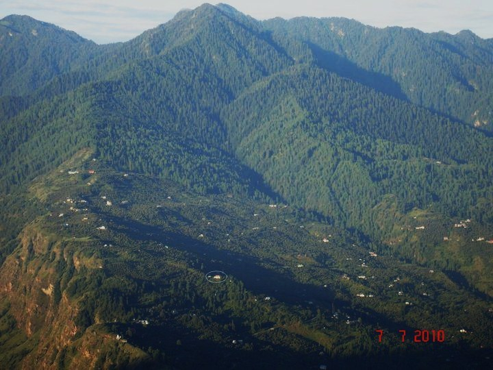 From the opposite side of the valley, Lakshman's house can be seen circled (bottom middle of picture)