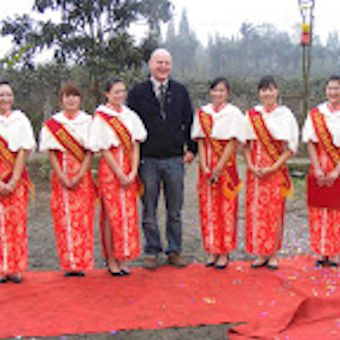 Stephen Ware with a welcome in Chengdu China