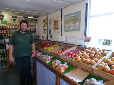 John Dench in the Farm Shop at Ringden Farm