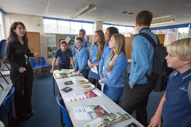 Kathryn Townend  - Hadlow Careers Officer addressing students visiting Pip to Plate
